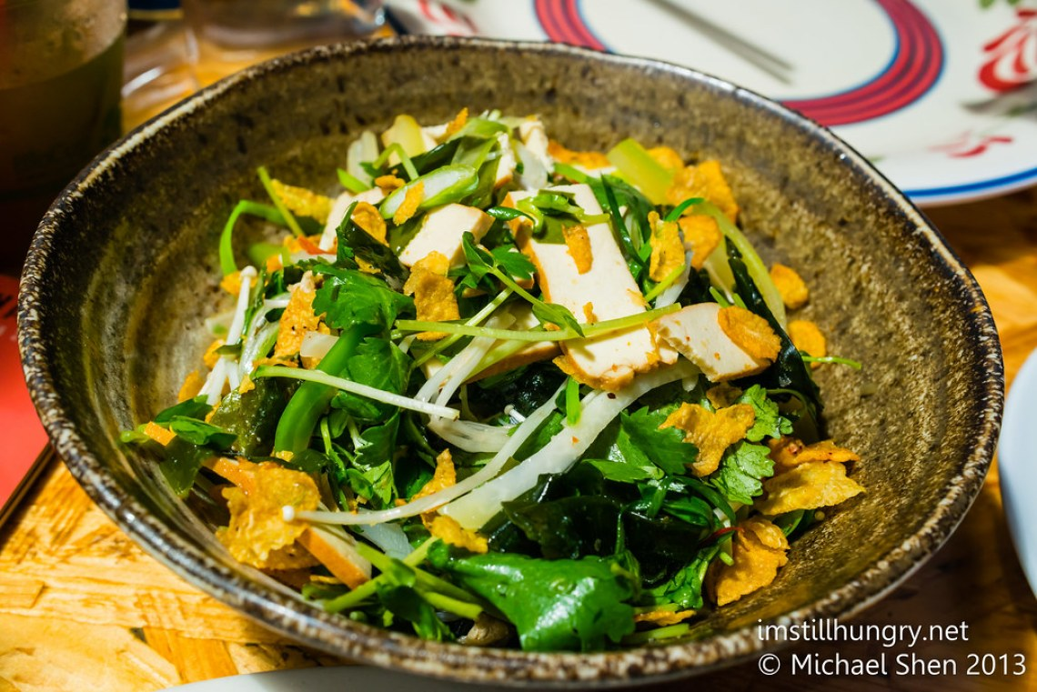 Buddha's delight 2.0 - a tofu, coriander, green apple salad w/ fried corn crisps Ms G's