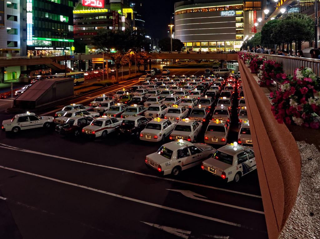 Taxis at Sendai Station