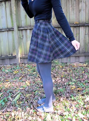 Zinnia Skirt made with plaid wool from Mood Fabrics