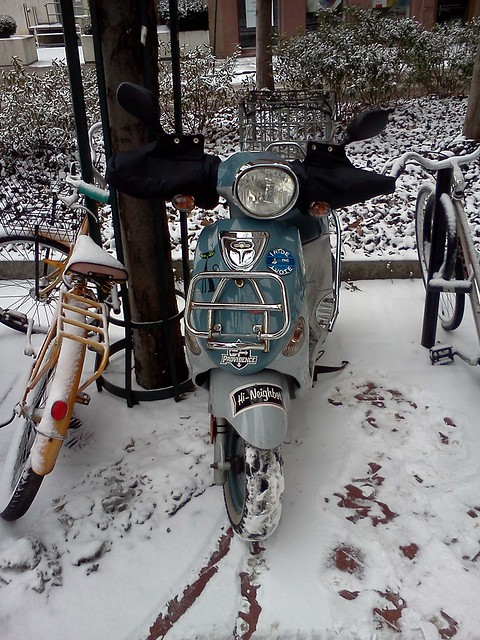 Franz the snowy Buddy scooter parked safe & sound at the RISD library