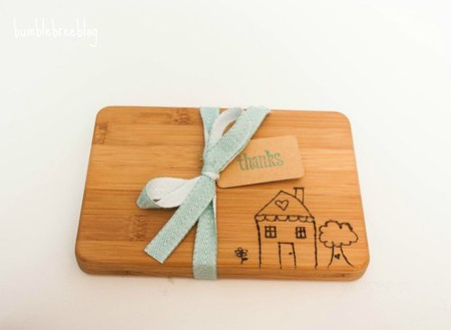 Wood burned kids art cutting board