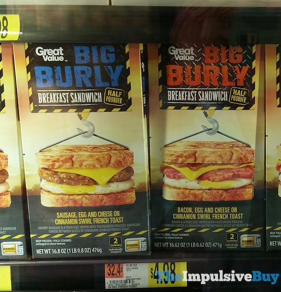Great Value Big Burly Breakfast Sandwiches (Sausage, Egg and Cheese on Cinnamon Swirl French Toast and Bacon, Egg and Cheese on Cinnamon Swirl French Toast)