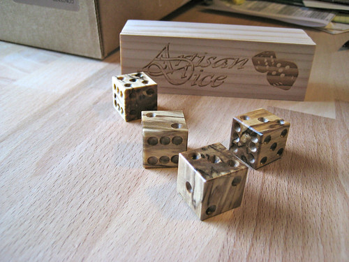Artisan dice, spalted Norway maple by woodelph