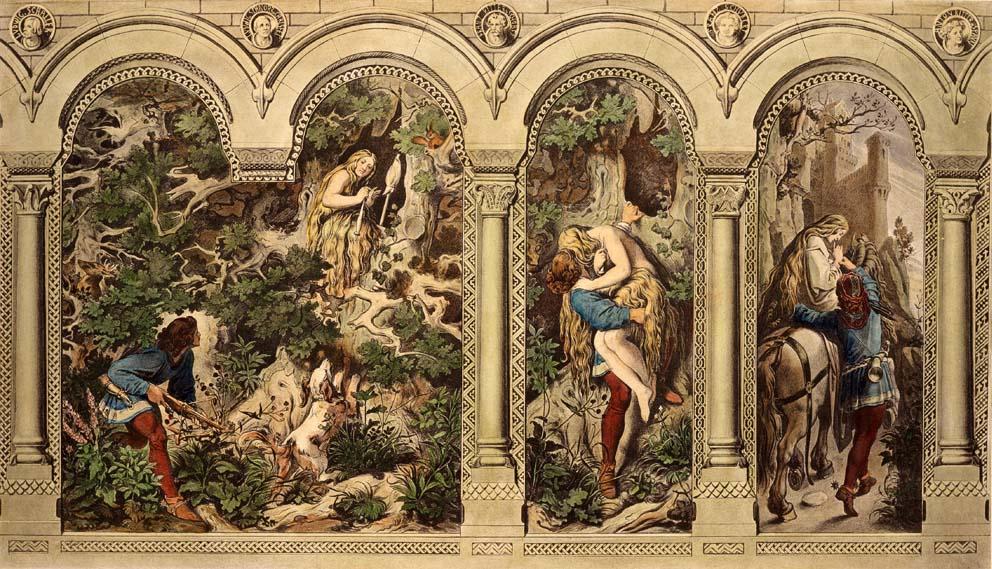 Moritz von Schwind, Das Märchen von den sieben Raben. Der Prinz findet die treue Schwester in einem hohlen Baume, holt sie herab und führt sie auf sein Schloß, 1858
