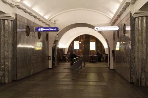 Escalator adit at Baltiyskaya (Балти́йская) station on Line 1