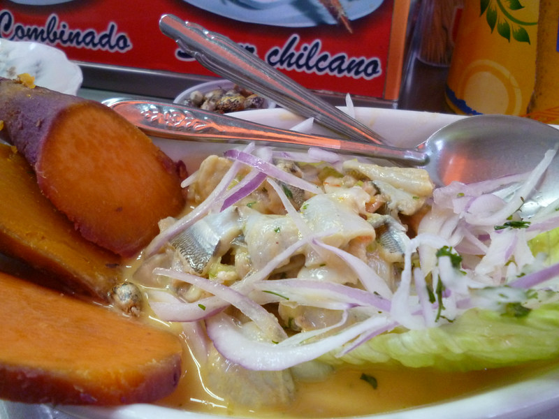 Close up of ceviche