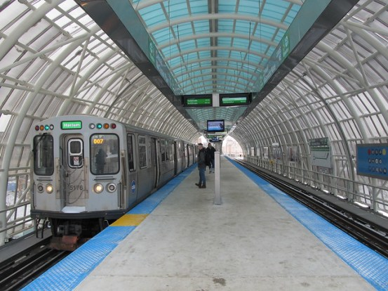 CTA Green Line Train at the New Cermak-McCormick Place Station