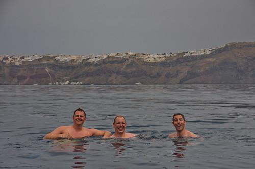 Chris, Sebi and Banzi Swimming in the Caldera of Santorin