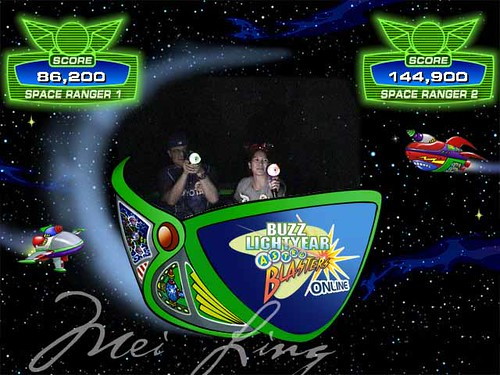 Buzz Lightyear ride picture with high scores