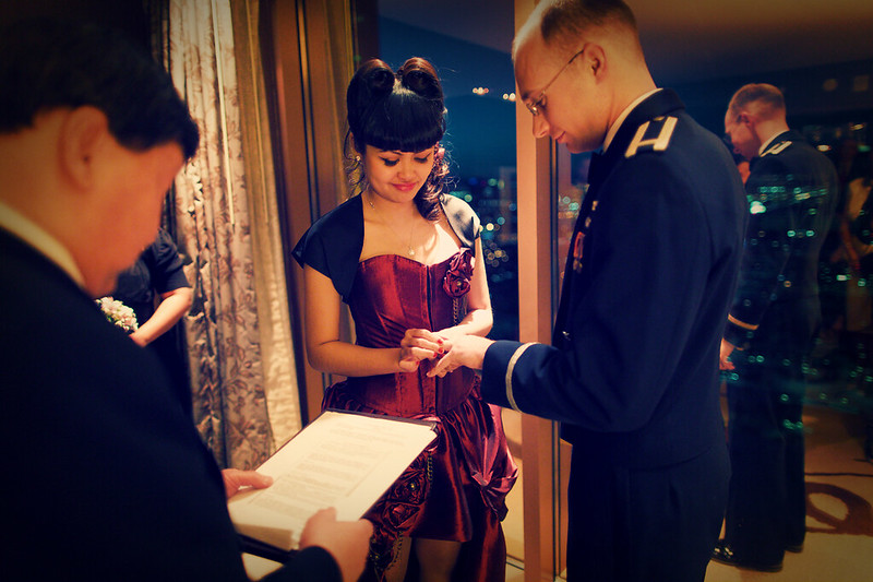 Putting the wedding ring on my groom