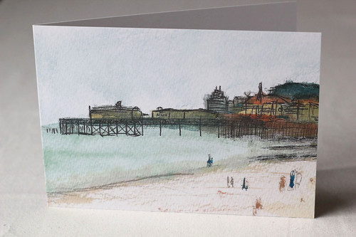 Hastings Beach Litho Print Greeting Card