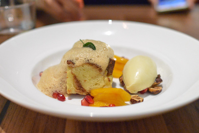 Bread Pudding pickled persimmons, pomegranate, hazelnut, dulcey ice cream