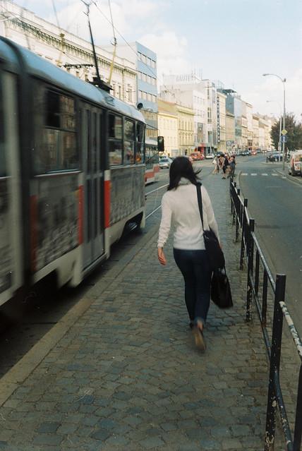 Arriving Tram (vintage camera, scan from film)