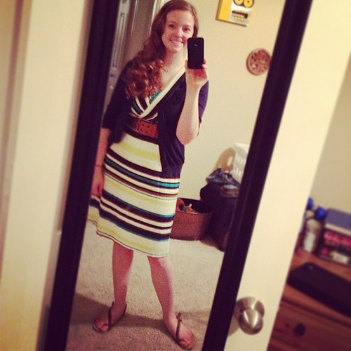 Favorite stripy dress is back for the faculty dinner tonight! Fluffy hair means the humidity must be high... #ootd