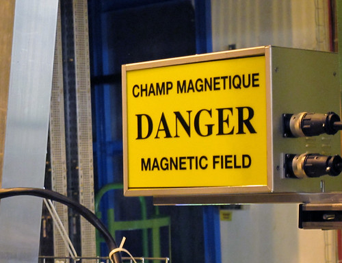 Magnetic field warning signs - there are some jolly big magnets in the LHC and other detectors at CERN