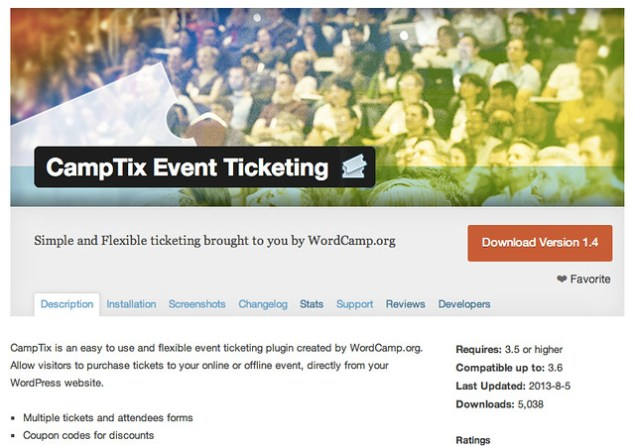 CampTix Screenshot