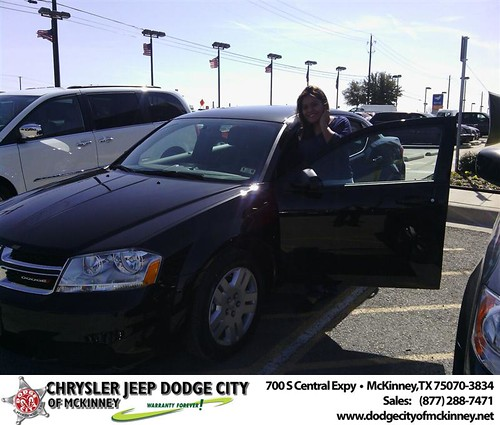 Thank you to Ferrer Karen on your new 2014 #Dodge #Avenger from Gustavo  Garcia and everyone at Dodge City of McKinney! #NewCar by Dodge City McKinney Texas