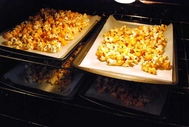 Popcorn drying in the oven