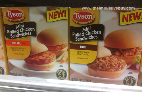 Tyson Mini Grilled Chicken Sandwiches Buffalo Style and Mini Pulled Chicken Sandwiches BBQ