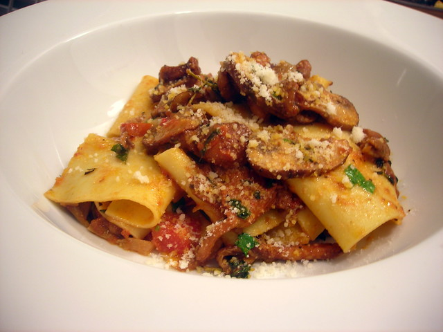 Pappardelle with fresh and wild mushroom sauce