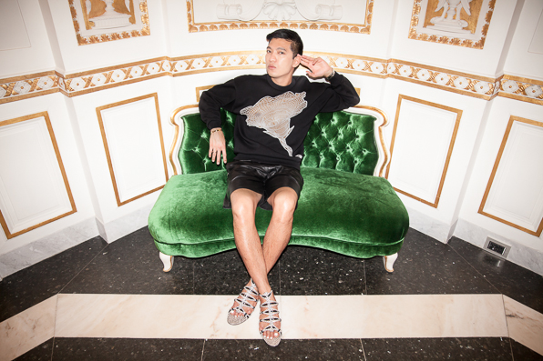 Christopher Kane cobweb sweatshirt worn by Bryanboy at Villa Cora, Florence