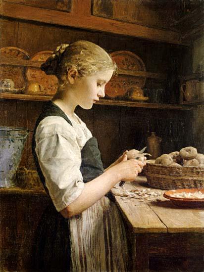 Albert Anker, Die kleine Kartoffelschälerin, 1886