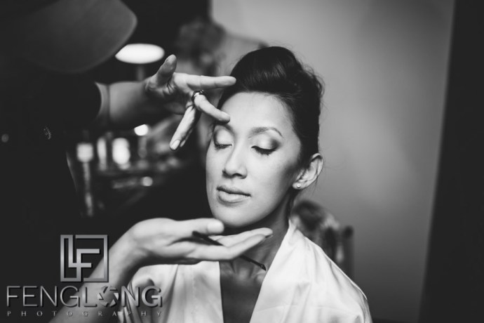Vietnamese wedding gets makeup done on wedding day
