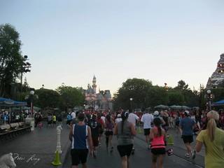 Running towards Sleeping Beauty's Castle
