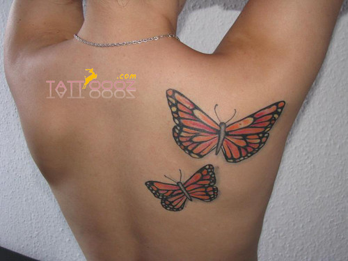 Butterfly tattoos on back (6)