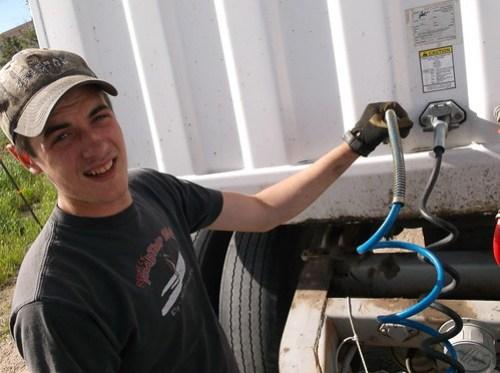 Eric checking the air hose