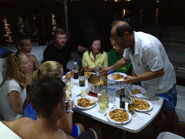Vassilis treats us to a delicious dinner on the boat - in Folegandros