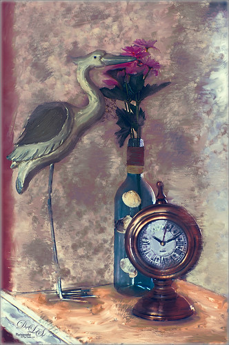 Arrangement of an wood egret, flowers, and clock done in Corel Painter