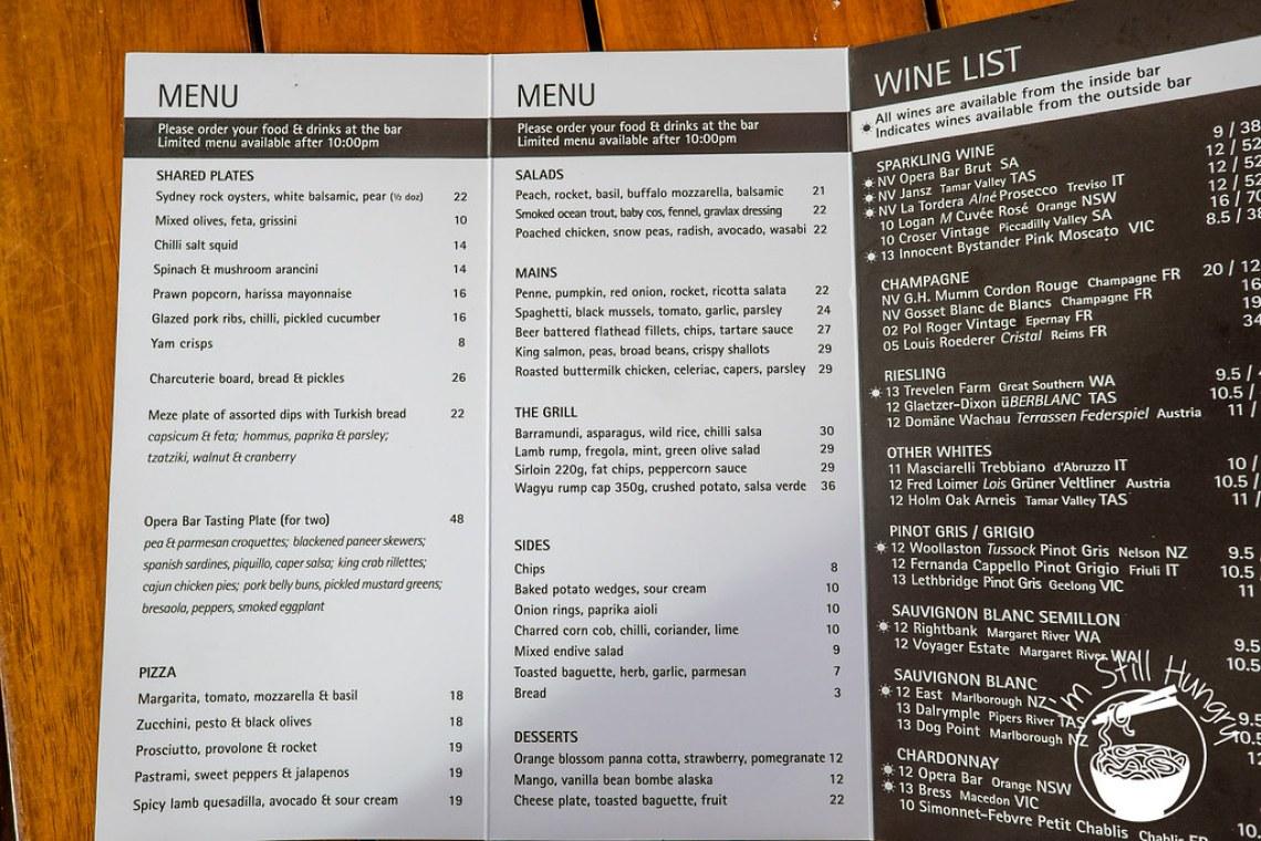 Opera Bar menu