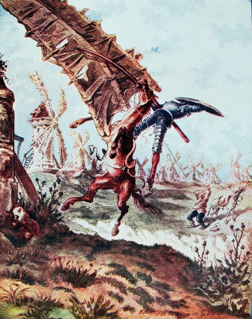 Don Quijote y los molinos de viento. Grabado de Gustave Doré, 1863