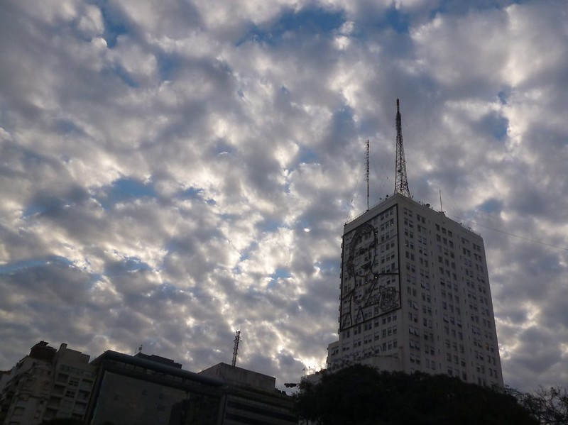 Cloudy Buenos Aires. The building has Evita on it.