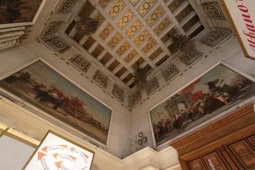 Soviet realist paintings inside the pavilion