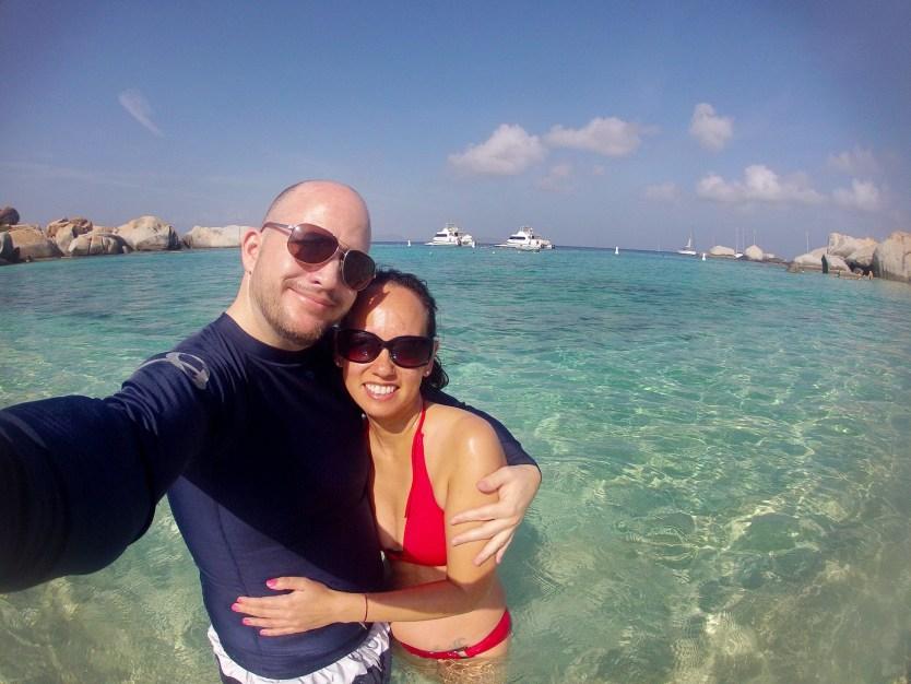 Matt and Heather at Devils Bay on Virgin Gorda.