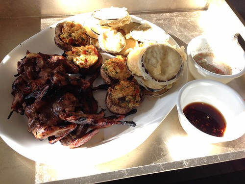 Grilled quail and tempura fried eggplant slices