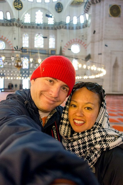 Matt and Heather inside the Süleymaniye Mosque.