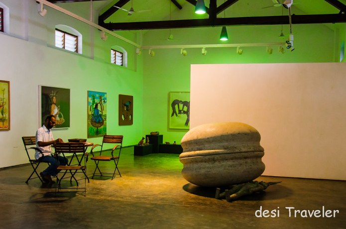 A huge stone sculpture at  Kochi Muziris Biennale