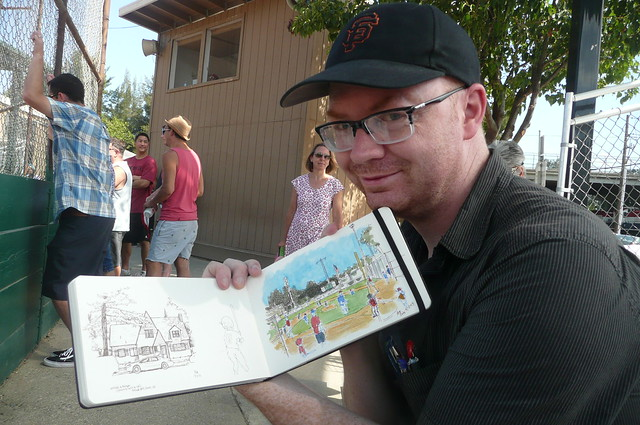 sketching at the little league