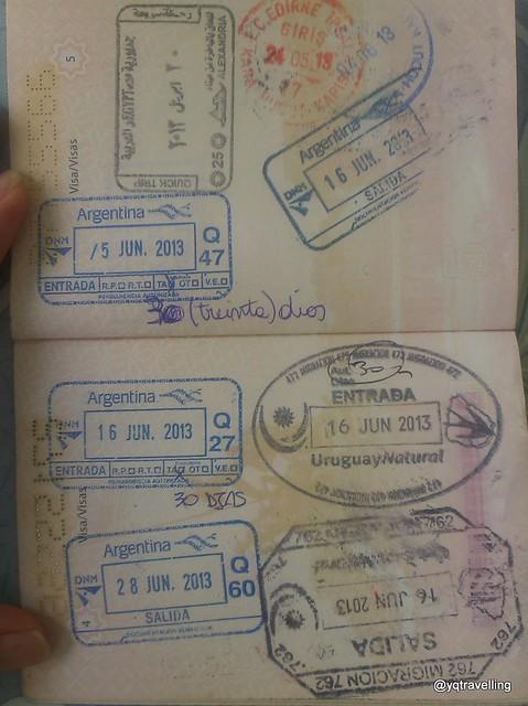 Passport stamp for Argentina, Uruguay, Egypt, Turkey