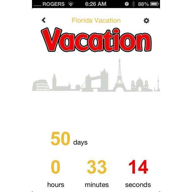 "July 26 - looking forward {to my vacation with a ""count-down"" app} #photoaday #apps #vacation"