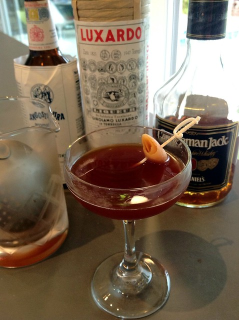 Fatigue: Tennessee whiskey, maraschino liqueur, Angostura bitters, grapefruit twist