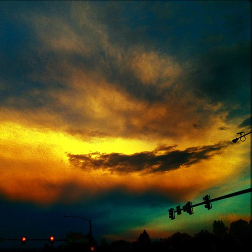 Snapped at a traffic light on iPhone last night #sunset by @MySoDotCom