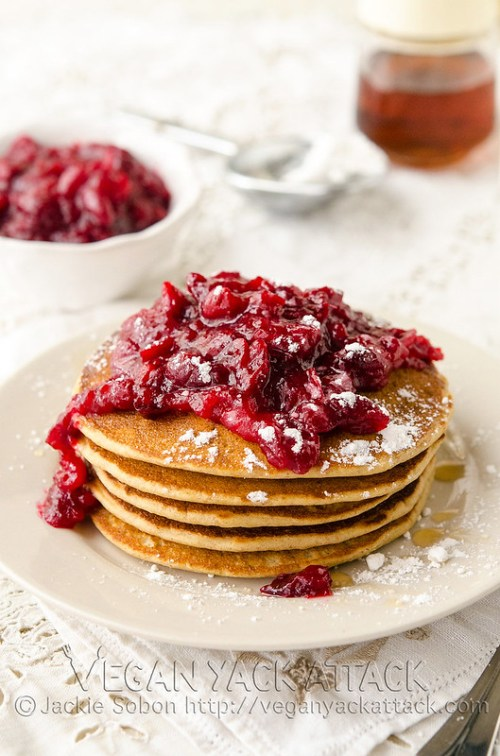 Use leftover cranberry sauce, or make your own citrus-y version, to top these fluffy, Cranberry Orange Pancakes! Vegan, Soy-free, Nut-free