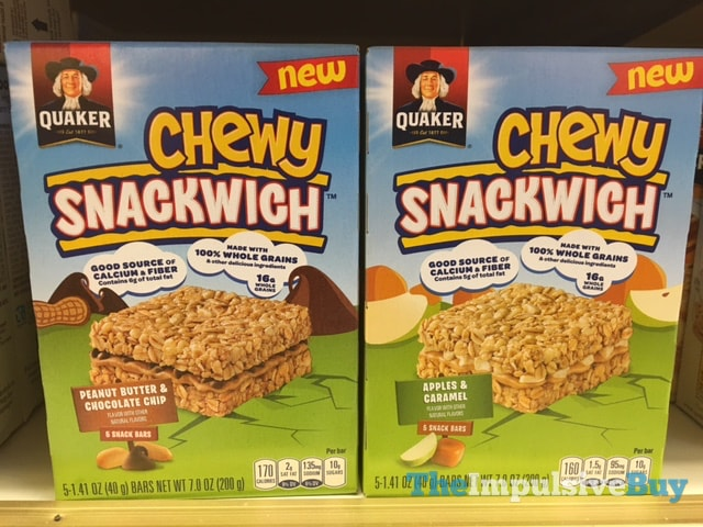 Quaker Chewy Snackwich (Peanut Butter & Chocolate Chip and Apple & Caramel)