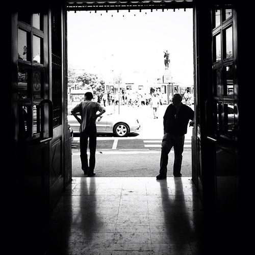 Looking out of doorway