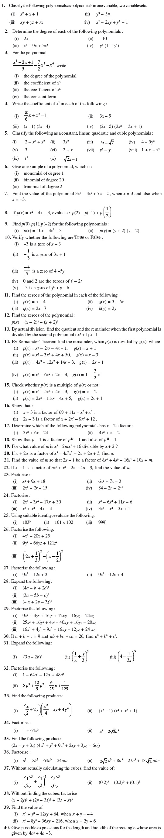 hight resolution of Class 9 Important Questions for Maths - Polynomials   AglaSem Schools