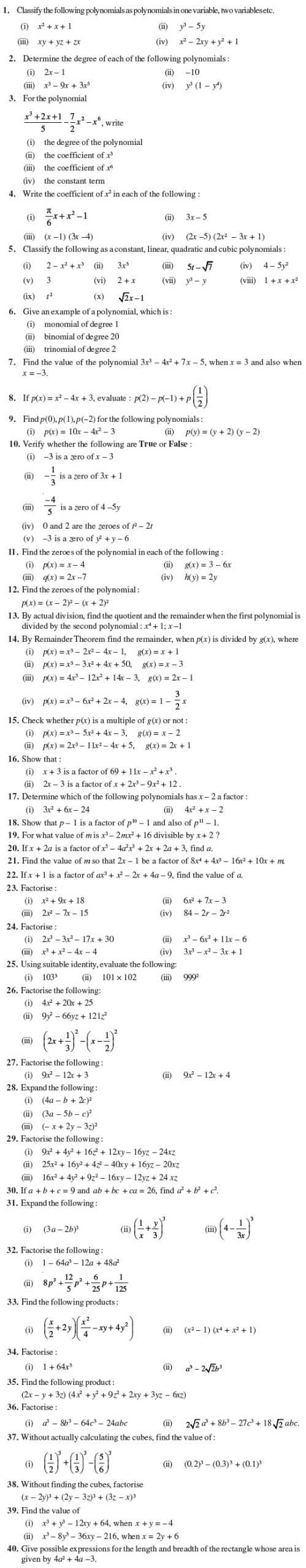 small resolution of Class 9 Important Questions for Maths - Polynomials   AglaSem Schools